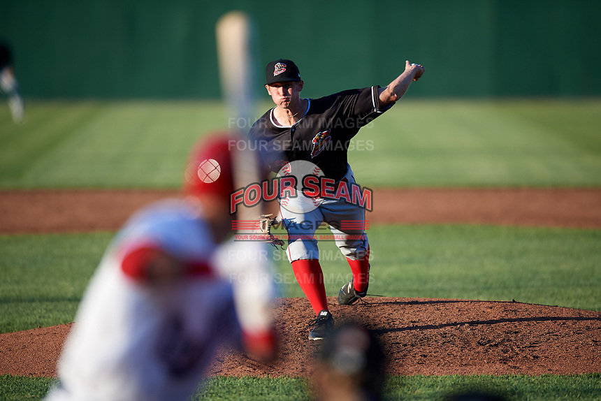 Batavia Muckdogs starting pitcher Logan Boyd (39) delivers a pitch during a game against the Auburn Doubledays on June 15, 2018 at Falcon Park in Auburn, New York.  Auburn defeated Batavia 5-1.  (Mike Janes/Four Seam Images)