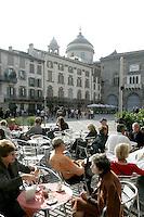 Una veduta di Piazza Vecchia a Bergamo.<br /> View of Piazza Vecchia, Bergamo.<br /> UPDATE IMAGES PRESS/Riccardo De Luca