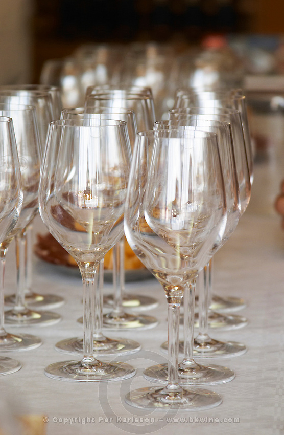 Wine glasses in the tasting room. Vinarija Citluk winery in Citluk near Mostar, part of Hercegovina Vino, Mostar. Federation Bosne i Hercegovine. Bosnia Herzegovina, Europe.