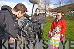 Dirty Old Towns cameraman Ed Godsell interviewing Lisa O'Shea with her daughter Shaunnagh, on sound Daragh O'Driscoll from Cahersiveen, pictured here on Saturday last as part of Cahersiveen's big tidy up drive which saw over one hundred people take to the streets and help with the clean up.
