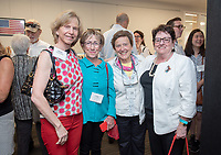 From left, Elaine Constanz, Cindy Hollis, Nan Elliot and Meredith Reynolds.<br /> Friends, family, alumni, students, faculty and staff gather in Johnson Hall classroom 303 for the dedication of The Roger Boesche Classroom on Oct. 21, 2018. The dedication included a ribbon cutting. The gathering then went downstairs to the McKinnon Center for Global Affairs to watch a video of daughter Kelsey Boesche and to listen to remarks.<br /> Longtime Occidental College politics professor Roger Boesche, revered by generations of Oxy students and credited by President Barack Obama '83 for sparking his interest in politics, passed away on May 23, 2017.<br /> (Photo by Marc Campos, Occidental College Photographer)