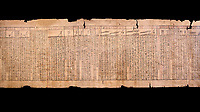 "Ancient Egyptian Book of the Dead papyrus - Spell 33 for keeping snakes away, Iufankh's Book of the Dead, Ptolomaic period (332-30BC).Turin Egyptian Museum.  Black background<br /> <br /> the spell reads ' O Rerek! Move not! Behold Geb and Shu have risen against you, for you have eaten a mouse, the abomination of Re"" you have crunched the bones of a putrified cat""<br /> <br /> The translation of  Iuefankh's Book of the Dead papyrus by Richard Lepsius marked a truning point in the studies of ancient Egyptian funereal studies."