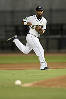 Second baseman Giovanny Alfonzo (6) of the Columbia Fireflies plays defense during a game against the Charleston RiverDogs on Wednesday, August 29, 2018, at Spirit Communications Park in Columbia, South Carolina. Charleston won, 6-1. (Tom Priddy/Four Seam Images)