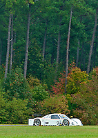 The #9 Porsche Riley of Terry Borcheller and Joao Barbosa races past fall foliage during the Grand-Am Rolex Series test at Virginia International Raceway, Alton, VA , October 2010. (Photo by Brian Cleary/www.bcpix.com)