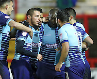 Adebayo Akinfenwa of Wycombe Wanderers celebrates with team mates after he scores Wycombe Wanderers first goal <br /> during the Sky Bet League 2 match between Accrington Stanley and Wycombe Wanderers at the wham stadium, Accrington, England on 28 February 2017. Photo by Tony  KIPAX.