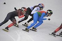 OLYMPIC GAMES: PYEONGCHANG: 22-02-2018, Gangneung Ice Arena, Short Track, semifinals 1000m Ladies, Valerie Maltais (CAN), Kim Alang (KOR), Arianna Fontana (ITA), ©photo Martin de Jong