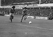 26/08/1980 Everton v Blackpool League Cup 2nd Round 1st Leg .Gary Williams attacks for Blackpool....© Phill Heywood.
