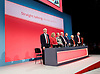 Labour Party Conference <br /> Day 4<br /> 30th September 2015 <br /> Brighton Centre, Brighton, East Sussex <br /> <br /> Jeremy Corbyn singing The Red Flag at closing ceremony <br /> <br />  <br /> Photograph by Elliott Franks <br /> Image licensed to Elliott Franks Photography Services