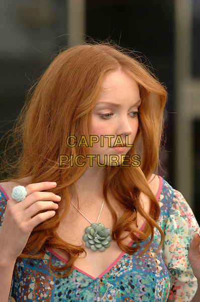 LILY COLE.is announced as New Face of Limited Collection for Marks & Spencer, University of Westminster, Marylebone Road,  London, England, 14th November 2007..portrait headshot hand green flower necklace ring.Ref: CAP/PL.©Phil Loftus/Capital Pictures.