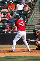Connor McKay (15) of the Hickory Crawdads at bat against the Delmarva Shorebirds at L.P. Frans Stadium on June 18, 2016 in Hickory, North Carolina.  The Crawdads defeated the Shorebirds 1-0 in game one of a double-header.  (Brian Westerholt/Four Seam Images)