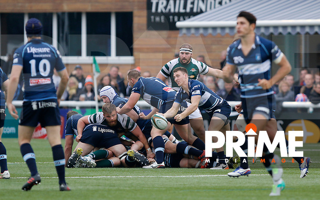 Bedford's Thomas James passes the ball during the Greene King IPA Championship match between Ealing Trailfinders and Bedford Blues at Castle Bar , West Ealing , England  on 29 October 2016. Photo by Carlton Myrie / PRiME Media