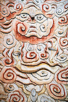 wall carving, mosaic, insects and swirls design, White Emperor City, China, Asia, 4/23/03