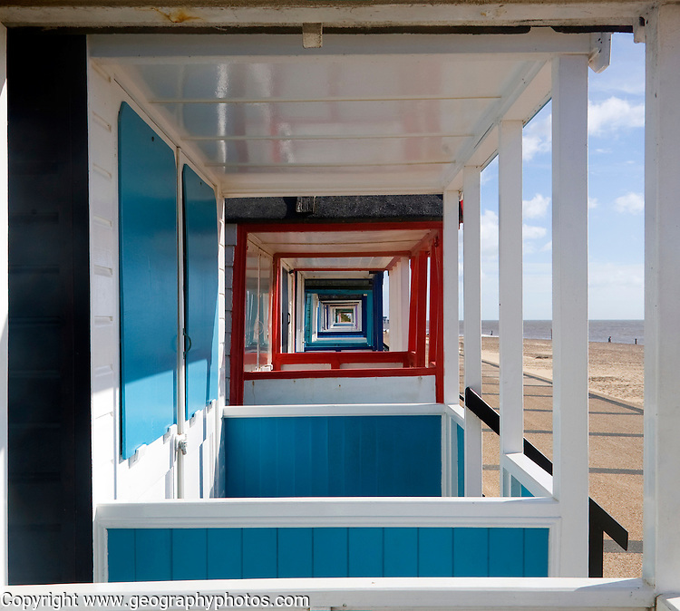 Colourful beach huts at Southwold, Suffolk, England