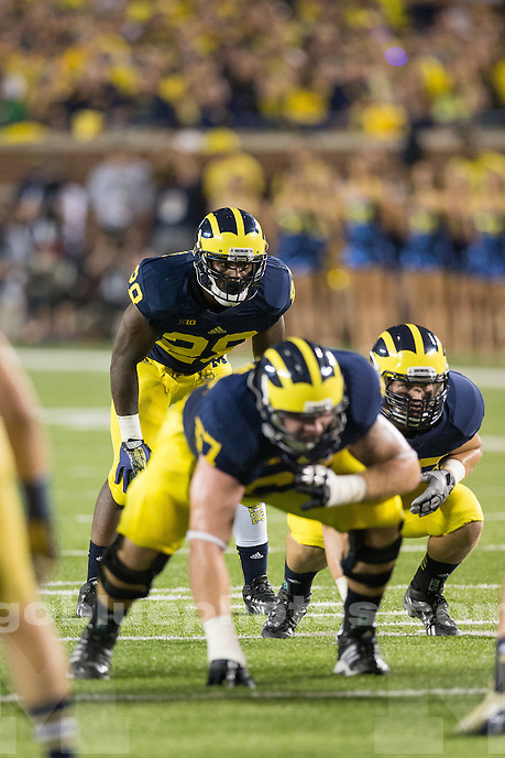 "The University of Michigan football team beat Notre Dame, 41-30, in the ""Under the Lights II"" game at Michigan Stadium in Ann Arbor, Mich., on September 7, 2013."