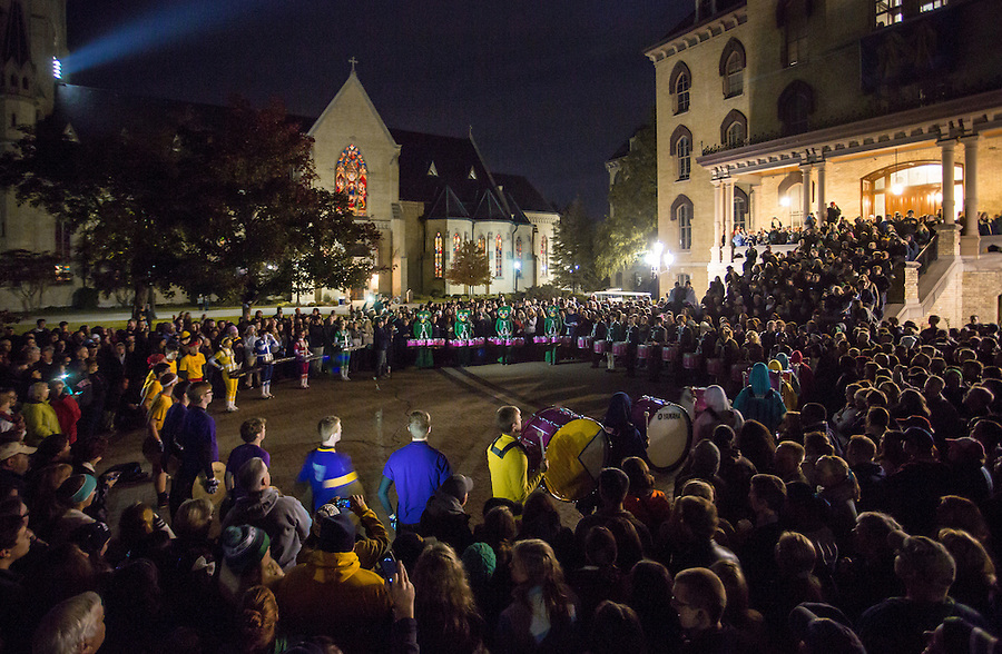 Oct. 11, 2014; Midnight Drummers Circle, held in front of the Main Building the night before a home football game. (Photo by Matt Cashore/University of Notre Dame)