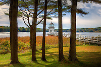 A view of the Doubling Point Lighthouse  through the pine trees at the rear of keepers house.  Doubling Point Light sits on the Kennebec River in Arrowsic, Maine.