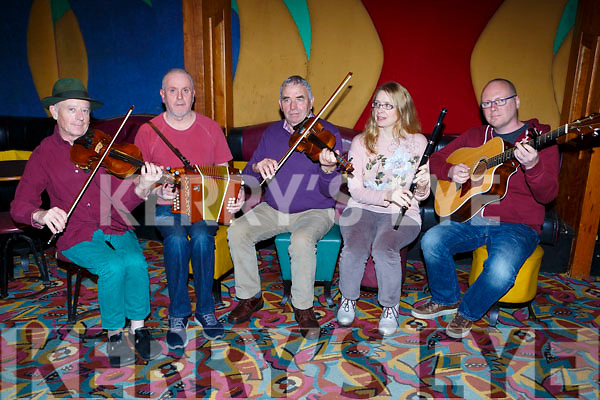 Gerry Harrington, eoghan O'Sullivan, Connie O'Connell, Eileen de Paor and John Blake  playing at the Padraig O'Keeffe festival all star concert in the River Island Hotel on Sunday night