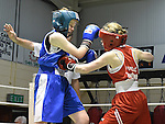 Aisling Maguire (in red) from Tredagh Boxing Club in action in the Louth Meath Boxing Championships held in Holy Family Boxing Club Ballsgrove.  Photo:Colin Bell/pressphotos.ie