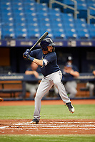 Zach Rutherford (11) at bat during the Tampa Bay Rays Instructional League Intrasquad World Series game on October 3, 2018 at the Tropicana Field in St. Petersburg, Florida.  (Mike Janes/Four Seam Images)