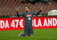 Gonzalo Higuain reacts during the Italian Serie A soccer match between   SSC Napoli and Atalanta  at San Paolo  Stadium in Naples ,March 22 , 2015<br /> <br /> <br /> incontro di calcio di Serie A   Napoli -Atalanta allo  Stadio San Paolo  di Napoli , 22  Marzo 2015