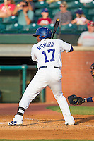 Daniel Mayora (17) of the Chattanooga Lookouts at bat against the Montgomery Biscuits at AT&T Field on July 24, 2014 in Chattanooga, Tennessee.  The Biscuits defeated the Lookouts 6-4. (Brian Westerholt/Four Seam Images)