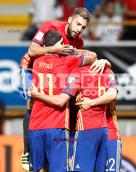 Spain's Jordi Alba, Vitolo, Sergi Roberto and Nolito celebrate goal during FIFA World Cup 2018 Qualifying Round match. September 5,2016.(ALTERPHOTOS/Acero) /NORTEPHOTO