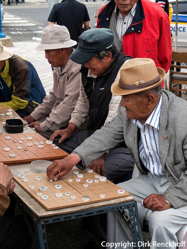 Schachspieler am Hafen von Tongyeong, Provinz Gyeongsangnam-do, S&uuml;dkorea, Asien<br /> Chess player at port of  Tongyeong,  province Gyeongsangnam-do, South Korea, Asia