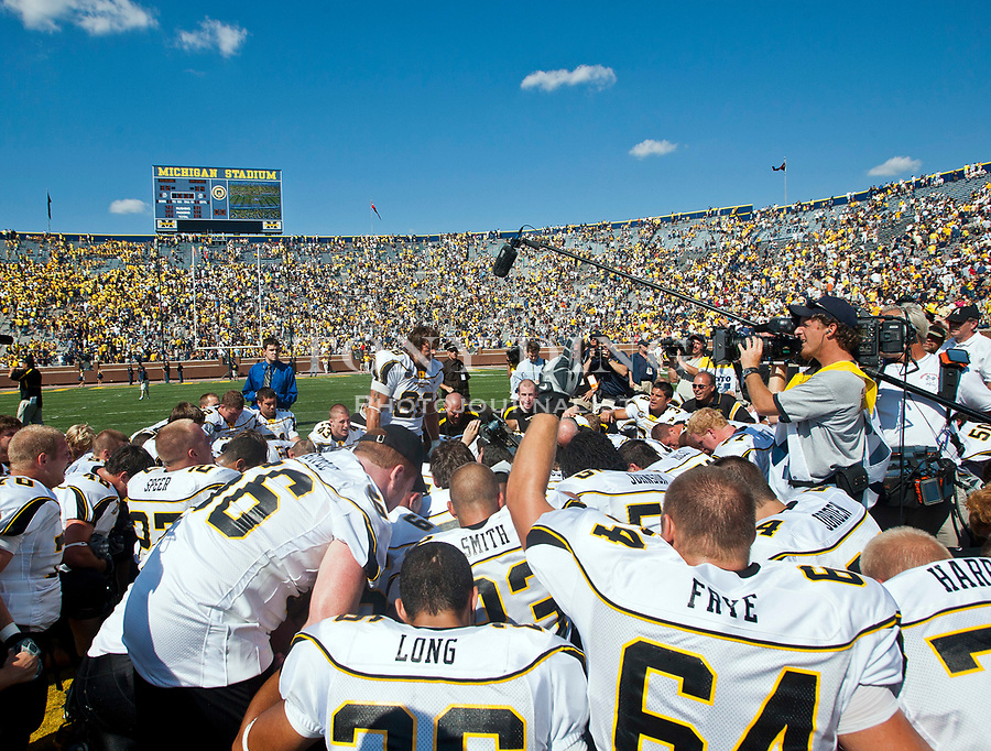 1 September 2007: DESCRIPTION in the 2007 season opener college football game between the Michigan Wolverines and Appalachian State Mountaineers at Michigan Stadium in Ann Arbor, MI. No. 5 ranked Michigan was upset 32-34.