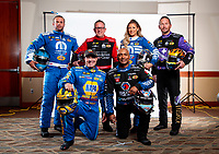 Feb 6, 2020; Pomona, CA, USA; Don Schumacher Racing drivers (front row from left) Ron Capps, Antron Brown, (back row from left) Matt Hagan, Tommy Johnson Jr, Leah Pruett and Jack Beckman pose for a portrait during NHRA Media Day at the Pomona Fairplex. Mandatory Credit: Mark J. Rebilas-USA TODAY Sports