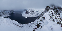 Winter view over Reinefjord from near Vindstad, Moskenesøy, Lofoten Islands, Norway