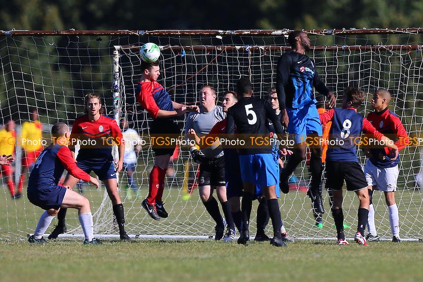 Shakespeare (red/blue) vs FC Bartlett, Hackney & Leyton Sunday League Football at Hackney Marshes on 9th October 2016
