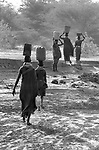 Turkana women collecting water from a borehole and  carrying the load back to their village over 1 km  away.