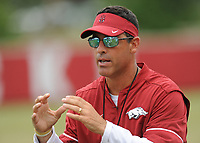 NWA Democrat-Gazette/ANDY SHUPE<br /> Arkansas offensive coordinator Dan Enos speaks to his players Tuesday, Aug. 1, 2017, during practice at the university's practice field in Fayetteville. Visit nwadg.com/photos to see more photographs from the day's practice.