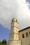 Israel, Upper Galilee, the Saraya building in Safed, the Ottoman clock tower