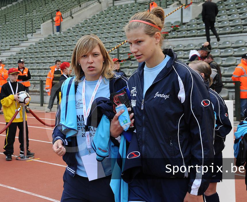 15 Mei 2010 Bekerfinale vrouwen : Sinaai Girls - RSC Anderlecht  : Sophie Mannaert en Justine Vanhaevermaet.foto DAVID CATRY / Vrouwenteam.be