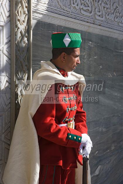 Afrique/Afrique du Nord/Maroc/Rabat: Garde royal au Mausolée Mohammed V