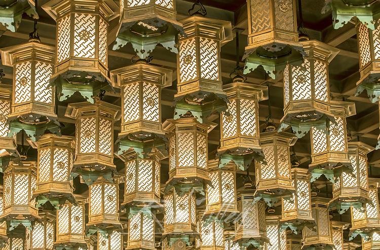 Japan, Hiroshima, Miyajiama, Daisho-in Temple, Hakkaku Manpuku Hall, Lanterns