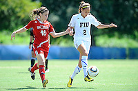 26 September 2010:  FIU's Chelsea Leiva (2) beats ASU's Meghan Mace (16) to the ball in the first half as the FIU Golden Panthers defeated the Arkansas State Red Wolves, 1-0 in double overtime, at University Park Stadium in Miami, Florida.