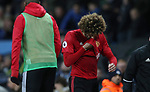 Marouane Fellaini of Manchester United is sent off by referee Martin Atkinson during the English Premier League match at The Etihad Stadium, Manchester. Picture date: April 27th, 2016. Photo credit should read: Lynne Cameron/Sportimage