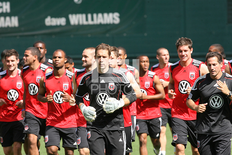 Troy Perkins leads DC United in a jog around the field at a practice session for DC United and AC Milan at RFK Stadium in Washington DC on may 25 2010.