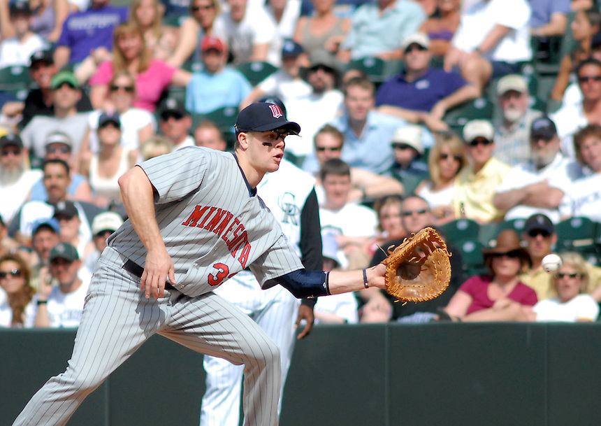 Twins starting 1st baseman Justin Morneau during an interleague game between the Colorado Rockies and the Minnesota Twins at Coors Field in denver, Colorado on May 18, 2008.