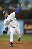 Troy Cate of the Inland Empire 66ers pitches during a game at Stater Bros Stadium on April 10, 2003 in San Bernardino, California. (Larry Goren/Four Seam Images)