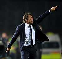 191030 -- BRESCIA, Oct. 30, 2019 Xinhua -- FC Inter s head coach Antonio Conte gestures during a Serie A soccer match between Brescia and FC Inter in Brescia, Italy, Oct 29, 2019. Photo by Alberto Lingria/Xinhua SPITALY-BRESCIA-SOCCER-SERIE A-INTER MILAN VS BRESCIA PUBLICATIONxNOTxINxCHN <br /> Brescia 29-10-2019 Stadio Mario Rigamonti <br /> Football Serie A 2019/2020 <br /> Brescia - FC Internazionale <br /> Photo Alberto Lingria / Xinhua / Imago  / Insidefoto