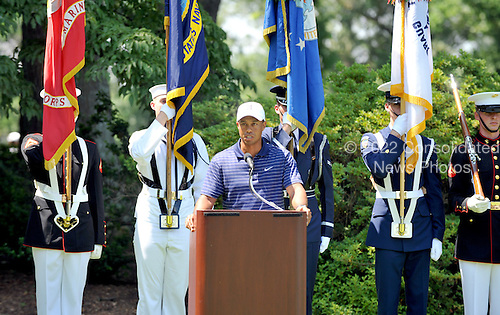 Bethesda, MD - July 1, 2009 -- Tiger Woods makes remarks during the opening ceremony for the AT&T National Hosted by Tiger Woods at Congressional Country Club in Bethesda, Maryland on Wednesday, July 1, 2009..Credit: Ron Sachs / CNP