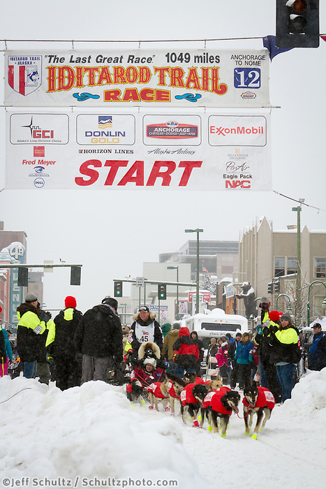 Ed Stielstra leaves the 2011 Iditarod ceremonial start line in downtown Anchorage, during the 2012 Iditarod..Jim R. Kohl/Iditarodphotos.com
