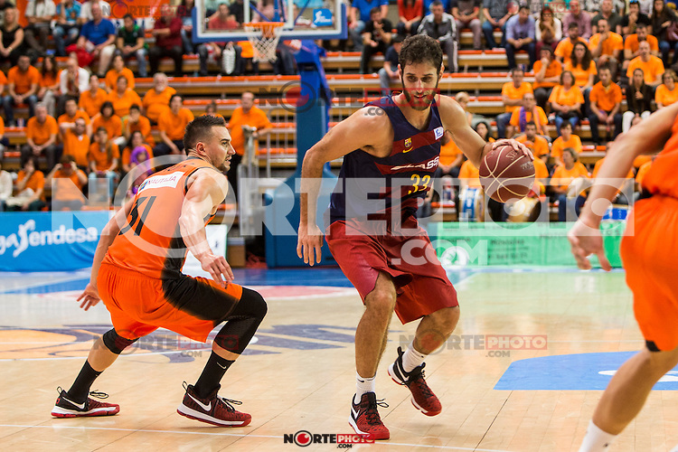 FC Barcelona Lassa's Stratos Perperoglou Montakit Fuenlabrada's Ivan Paunic  during the match of Endesa ACB League between Fuenlabrada Montakit and FC Barcelona Lassa at Fernando Martin Stadium in fuelnabrada,  Madrid, Spain. October 30, 2016. (ALTERPHOTOS/Rodrigo Jimenez) /NORTEPHOTO.COM