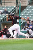 Third baseman Heiker Meneses (9) of the Rochester Red Wings bats against the Scranton Wilkes-Barre Railriders on May 1, 2016 at Frontier Field in Rochester, New York. Red Wings won 1-0.  (Christopher Cecere/Four Seam Images)