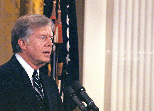 United States President Jimmy Carter holds a press conference in the East Room of the White House in Washington, DC on April 30, 1980.<br /> Credit: Benjamin E. &quot;Gene&quot; Forte / CNP