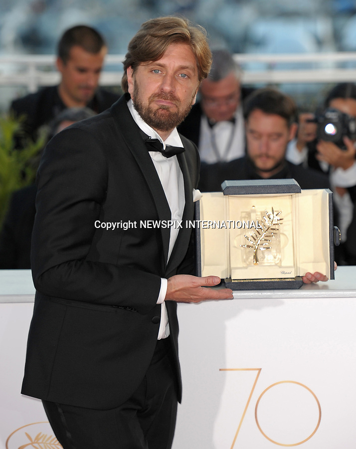 28.05.2017; Cannes, France: RUBEN OSTLUND<br /> winner of the Palme D'or at the 70th Cannes Film Festival, Cannes<br /> Mandatory Credit Photo: &copy;NEWSPIX INTERNATIONAL<br /> <br /> IMMEDIATE CONFIRMATION OF USAGE REQUIRED:<br /> Newspix International, 31 Chinnery Hill, Bishop's Stortford, ENGLAND CM23 3PS<br /> Tel:+441279 324672  ; Fax: +441279656877<br /> Mobile:  07775681153<br /> e-mail: info@newspixinternational.co.uk<br /> Usage Implies Acceptance of Our Terms &amp; Conditions<br /> Please refer to usage terms. All Fees Payable To Newspix International