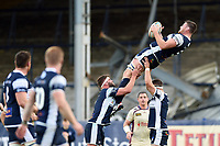 Matt Smith of Yorkshire Carnegie claims the ball in the air. Greene King IPA Championship match, between Yorkshire Carnegie and Doncaster Knights on September 17, 2017 at Headingley Stadium in Leeds, England. Photo by: Patrick Khachfe / Onside Images
